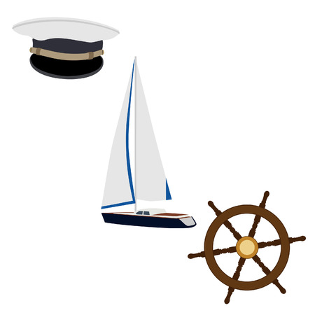 pirate crew: Navy vector icon set- luxury yacht, ship wheel and captain hat