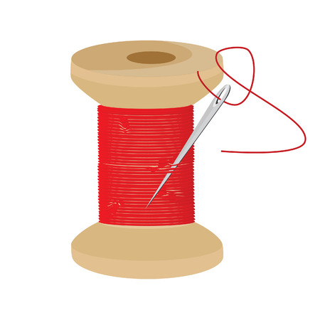 bobbin: Red thread wooden spool and needle with thread vector icon, thread bobbin