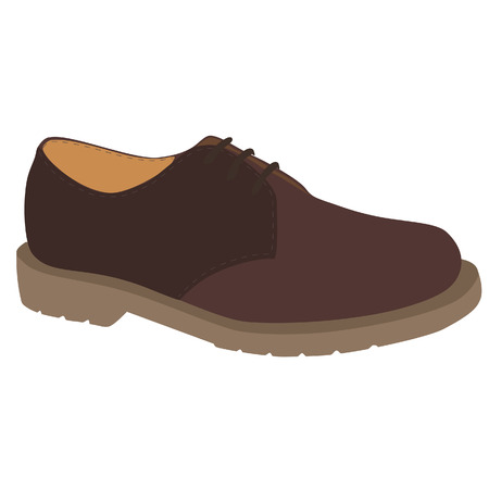 leather shoe: Brown man fashion sport leather shoe vector icon isolated