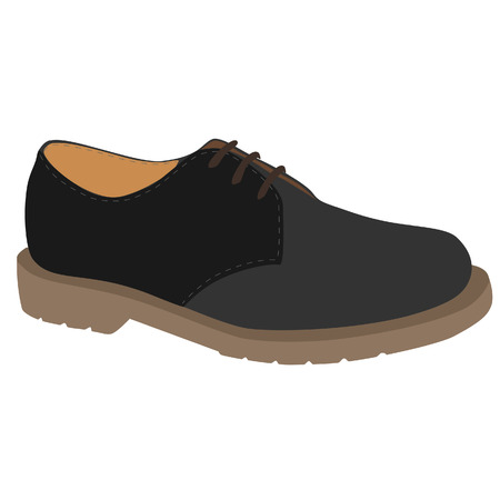 leather shoe: Grey man fashion sport leather shoe vector icon isolated