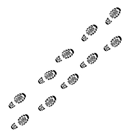 Shoe print vector track, walk, trail isolated outdoors