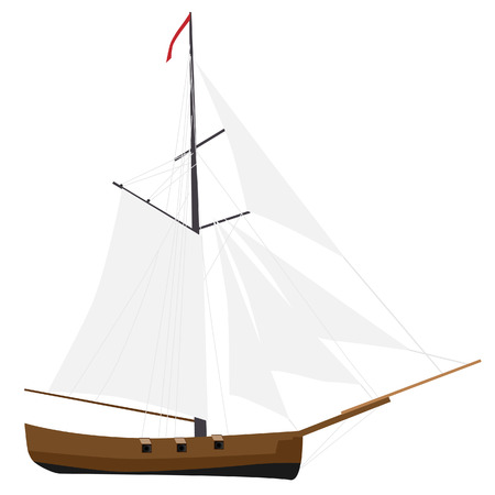 schooner: Sloop ship vector with white sail icon, sailboat transport, nautical, cruise ship Illustration