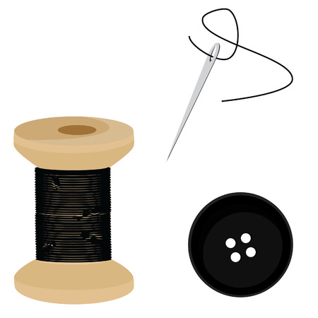 bobbin: Tailor set- black thread bobbin, needle and thread, button, sewing item vector