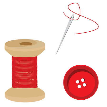 bobbin: Tailor set- red thread bobbin, needle and thread, button, sewing item vector Illustration