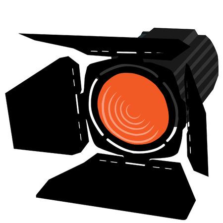 night club interior: Orange spotlight, spotlight icon, theater light vector isolated