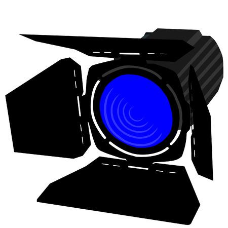 night club interior: Blue spotlight, spotlight icon, theater light vector isolated