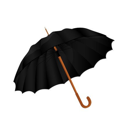 nylon: Black nylon opened umbrella vector icon, fashion accessory Illustration
