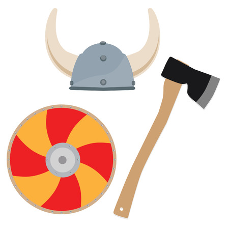 vikingo: Vikingo sombrero, aislado escudo y el hacha vector, arma viking
