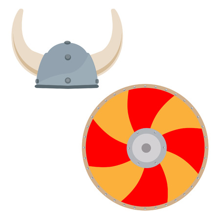 Viking medieval hat and orange shield vector isolated, scandinavian, norseman