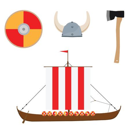 vikingo: Vikingo conjunto con casco, hacha, nave drakkar y el icono del vector escudo aislado, escandinavo Vectores