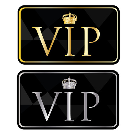 gold silver: Silver and golden vip pass with crown symbol card, vip icon,member card