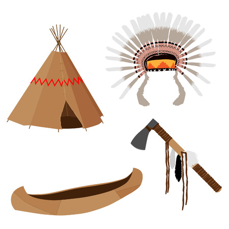 wigwam: Native american vector icon set with tomahawk, canoe, wigwam, feather headdress, brown Illustration
