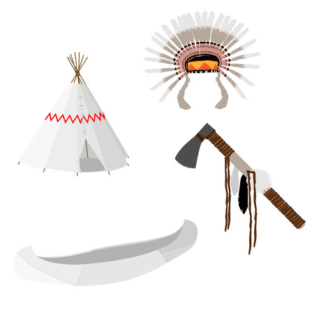 wigwam: Native american vector icon set with tomahawk, canoe, wigwam, feather headdress, white