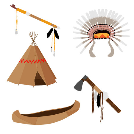 wigwam: Native american vector icon set with tomahawk, canoe, piece pipe, wigwam, feather headdress, brown Illustration