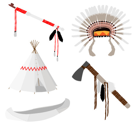 Native american vector icon set with tomahawk, canoe, piece pipe, wigwam, feather headdress,white Illustration