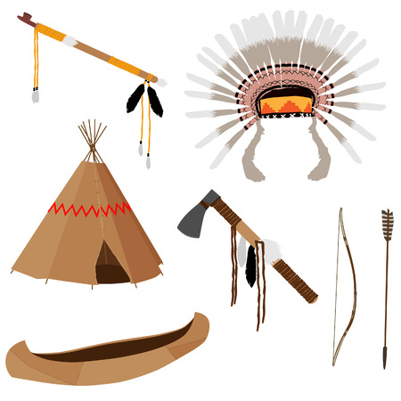 wigwam: Native american vector icon set with tomahawk, canoe, piece pipe, wigwam, feather headdress, longbow and arrow, brown