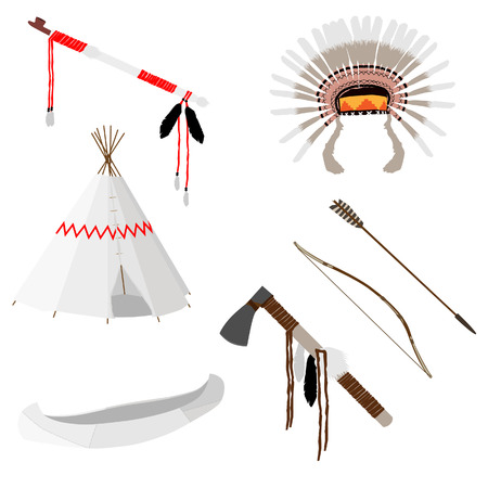 Native american vector icon set with tomahawk, canoe, piece pipe, wigwam, feather headdress, longbow and arrow, white