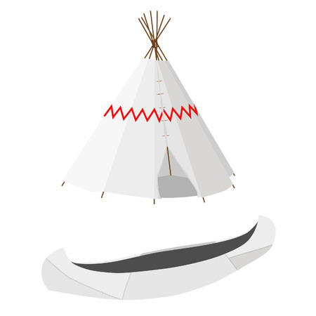 wigwam: Indian native american white canoe and wigwam vector icon set isolated