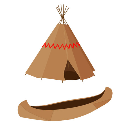 wigwam: Indian native american brown canoe and wigwam vector icon set isolated