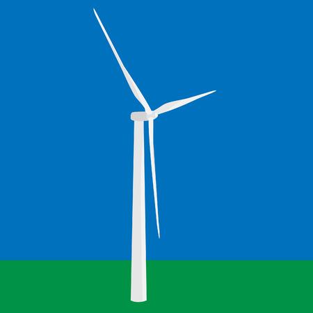 Wind turbine in the field vector, wind power, wind energy