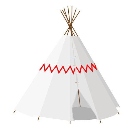 indian village: Wigwam vector isolated on white, teepee, native american