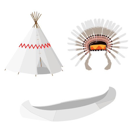 wigwam: Indian native american wigwam, canoe and feather headdress vector icon set