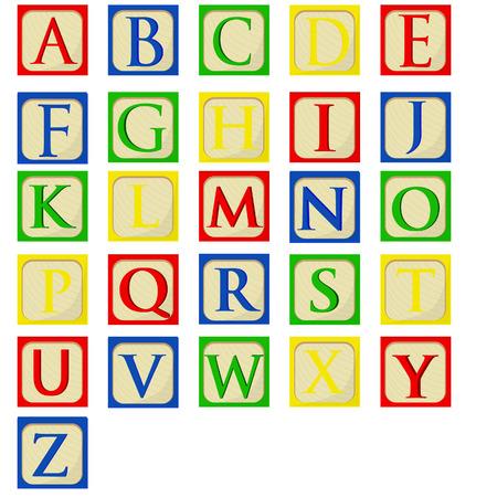 juguetes de madera: Conjunto alfabeto bloques del bebé colorido del vector, bloques de construcción, tipo de letra del alfabeto latino
