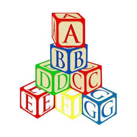 Tower from alphabet baby building blocks vector isolated