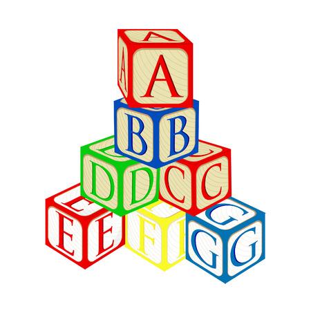 Toren van het alfabet de baby bouwstenen vector geïsoleerde Stock Illustratie