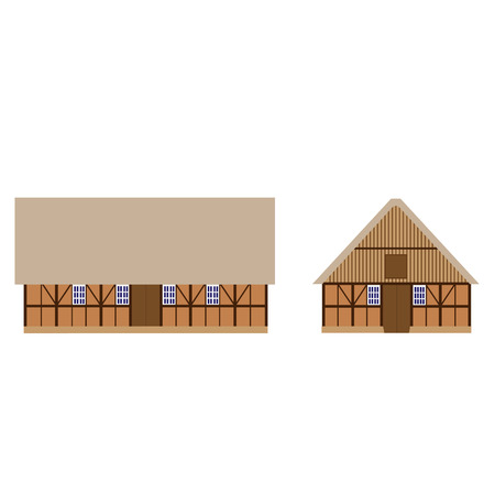 hay field: Old, wooden barn vector isolated, farm house, barn door, farm building, collection  set Illustration