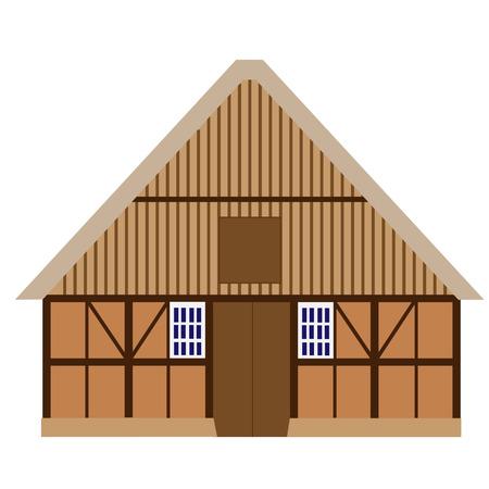 old barn: Old, wooden barn vector isolated, farm house, barn door, farm building Illustration