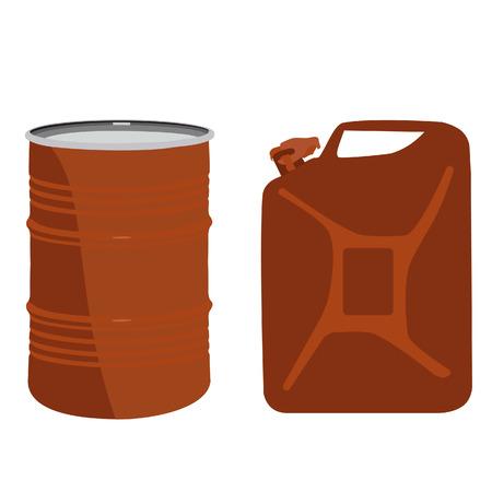 canister: Orange aluminum barrel and canister vector icon set, diesel tank Illustration
