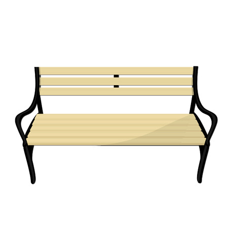garden furniture: Wooden empty park bench vector isolated, garden furniture Illustration