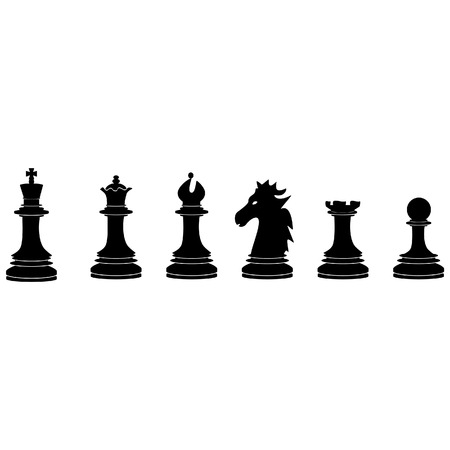 named person: Black chess pieces vector icon set - with king, queen, bishop, knight, rook, pawn Illustration