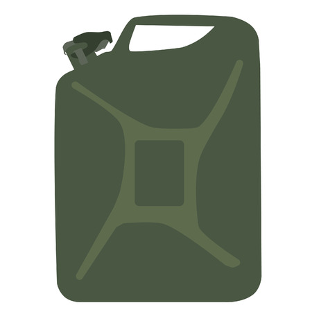 canister: Green aluminum  canister vector icon, diesel tank Illustration