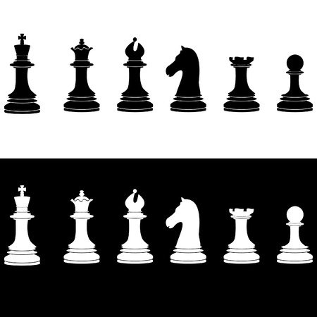 named person: Black and white chess pieces vector icon set - with king, u, bishop, knight, rook, pawn Illustration