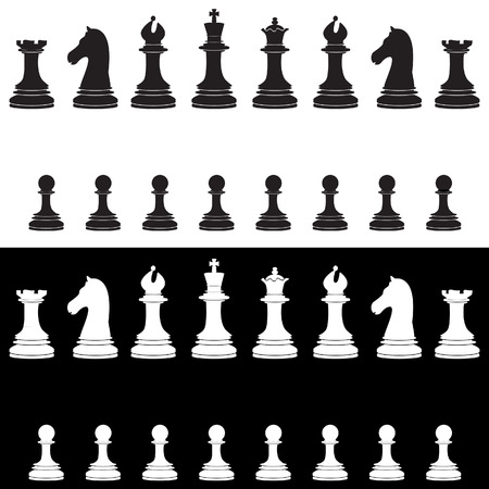 king and queen: Black and white chess pieces vector icon set - with king, queen, bishop, knight, rook, pawn