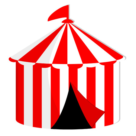 cirque: Red and white striped circus tent with flag vector icon isolated, marquee, carnival Illustration