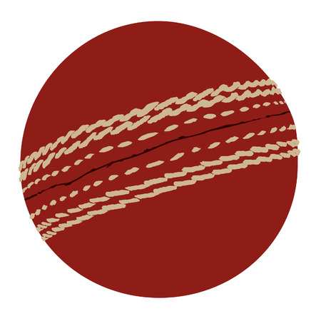 criket: Red cricket ball vector isolated icon, traditional sport, equipment