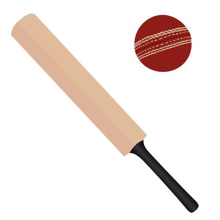 murcielago: Madera bate de cricket y aislado vector pelota de cricket, equipo deportivo rojo