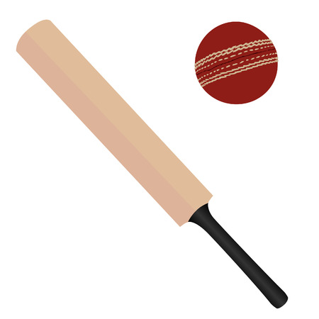 Wooden cricket bat and red cricket ball vector isolated, sport equipment Illustration