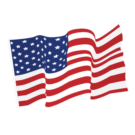 American waving flag vector icon, national symbol, red, white and blue with stars Çizim