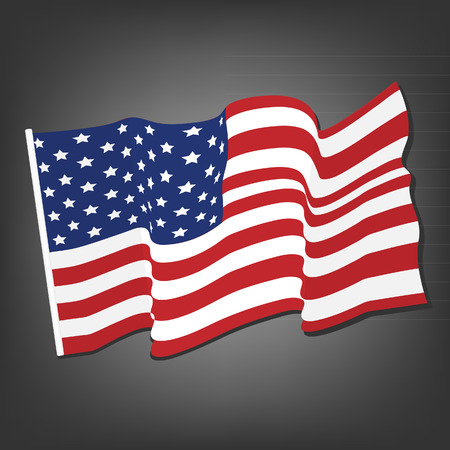 american states: American waving flag vector icon, national symbol, red, white and blue with stars, grey background
