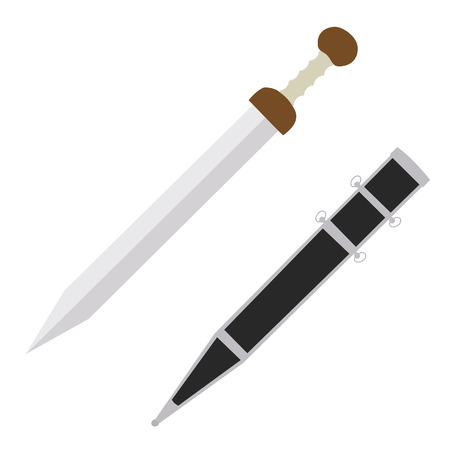 ancient roman: Gladius roman ancient weapon, silver sword, vector isolated on white, sword case