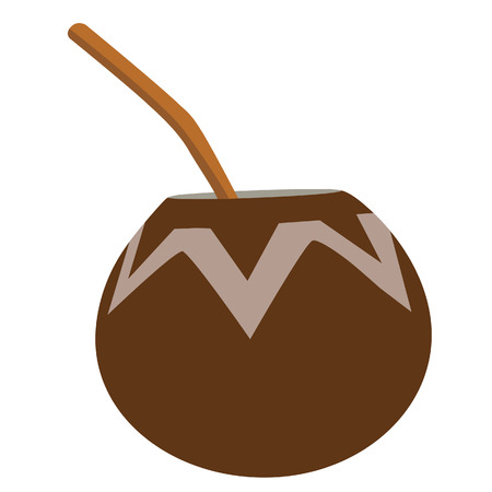 yerba mate: Calabash con bombilla, t� de yerba mate, bebida caliente argentino Vectores
