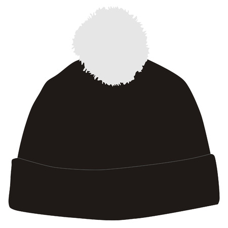 Black winter hat with white pompom vector isolated, snowboarding hat Illustration