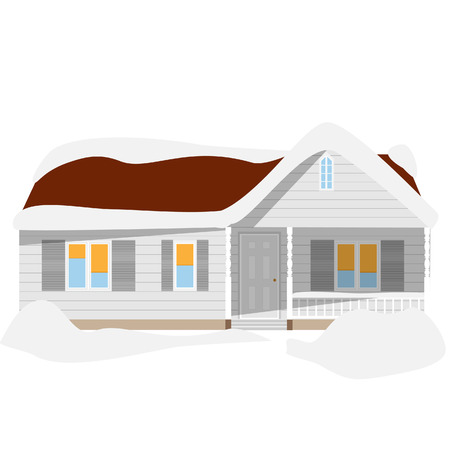 snowdrifts: Snow winter house vector icon, cartoon, house with snowdrifts, cottage