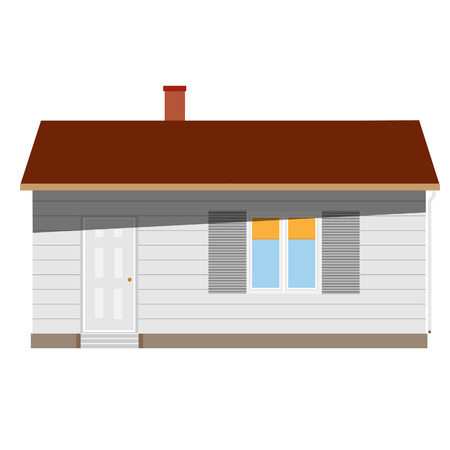 window shade: New cottage, house one story, real estate, home vector isolated, sale