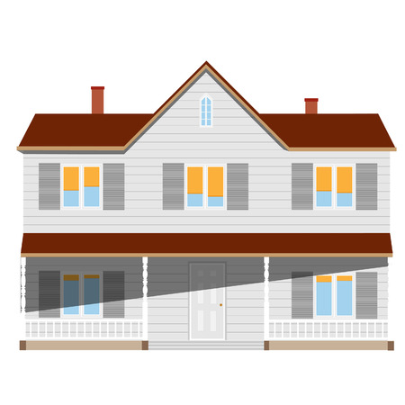 two story: New cottage, house two story, real estate, home vector isolated, sale Illustration
