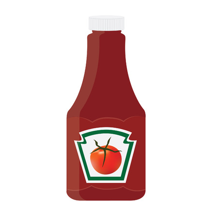 Tomato ketchup, sauce bottle vector icon, with label, sticker Vector